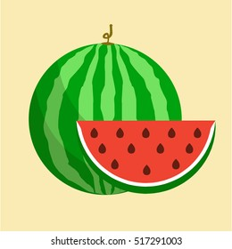 Flat icon watermelon and slice of watermelon. Vector illustration.