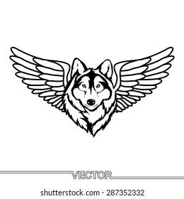 Flat Icon of wolf head with wings. Isolated on white background. Modern vector illustration in a tattoo style.
