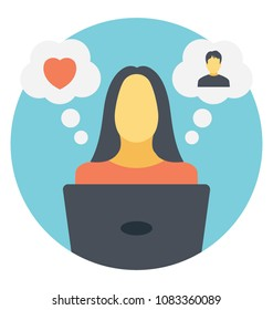 Flat icon of a woman searching for her match online
