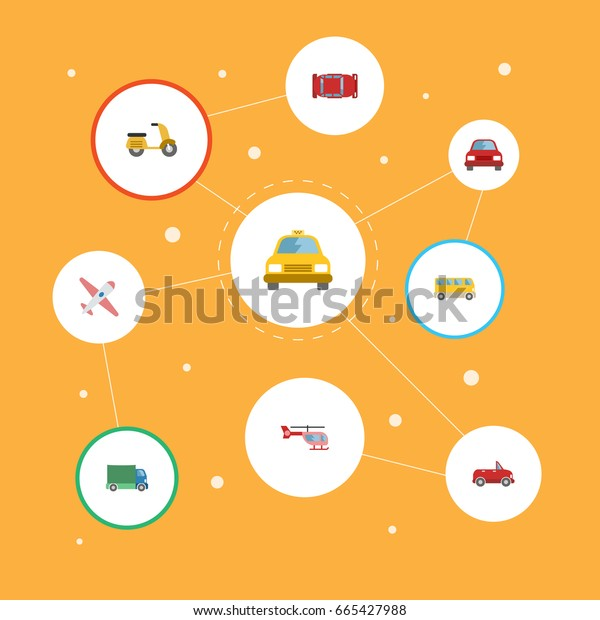 Flat Icons Aircraft, Transport, Scooter And Other Vector Elements. Set Of Transport Flat Icons Symbols Also Includes Aircraft, Bus, Air Objects.