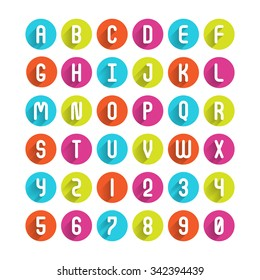Flat icons alphabet A, B, C, D, E, F, G, H, I, J, K, L, M, N, O, P, Q, R, S, T, U, V, W, X, Y, Z and Number
