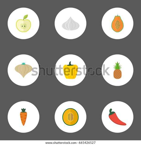 Flat Icons Ananas, Pawpaw, Jonagold And Other Vector Elements. Set Of Berry Flat Icons Symbols Also Includes Melon, Greens, Apple Objects.