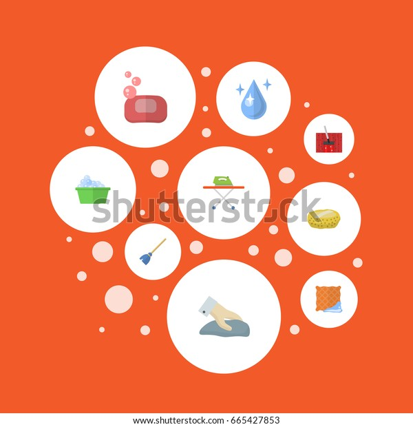 Flat Icons Aqua, Besom, Foam And Other Vector Elements. Set Of Hygiene Flat Icons Symbols Also Includes Washcloth, Broom, Laundry Objects.