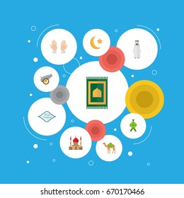Flat Icons Arabic Calligraphy, New Lunar, Prayer Carpet And Other Vector Elements. Set Of Holiday Flat Icons Symbols Also Includes Hari, Minaret, Dromedary Objects.