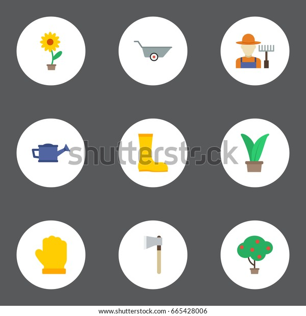 Flat Icons Axe, Plant, Latex And Other Vector Elements. Set Of Agriculture Flat Icons Symbols Also Includes Wheelbarrow, Ax, Bailer Objects.