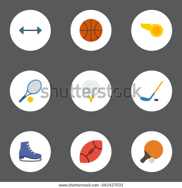 Flat Icons Basket, Table Tennis, Kettlebells And Other Vector Elements. Set Of Sport Flat Icons Symbols Also Includes Pong, Ping, Dumbbells Objects.