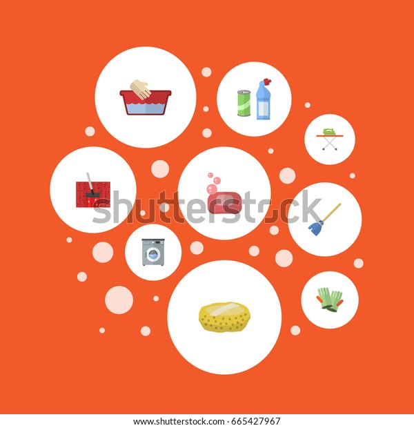 Flat Icons Besom, Housekeeping, Foam And Other Vector Elements. Set Of Hygiene Flat Icons Symbols Also Includes Hygiene, Basin, Laundromat Objects.
