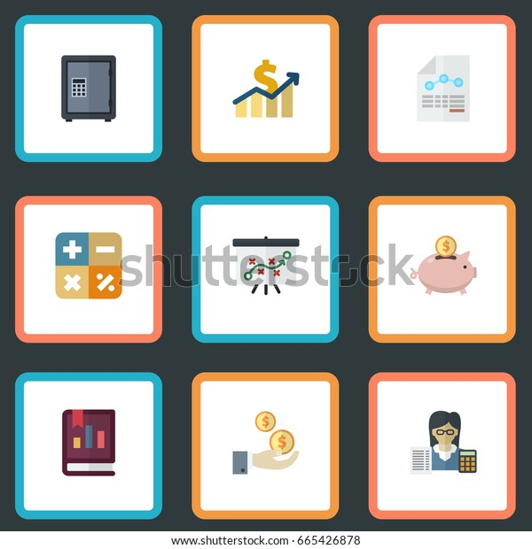 Flat Icons Book, Algebra, Safe And Other Vector Elements. Set Of Registration Flat Icons Symbols Also Includes Booker, Income, Sheet Objects.