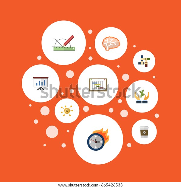 Flat Icons Break, Design, Financing And Other Vector Elements. Set Of Startup Flat Icons Symbols Also Includes Limit, Brain, Scheme Objects.