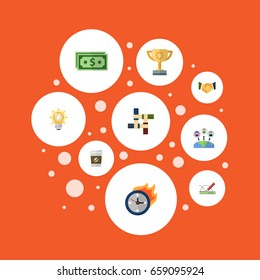 Flat Icons Bulb, Support, Break And Other Vector Elements. Set Of Startup Flat Icons Symbols Also Includes Geometry, Motivation, Break Objects.