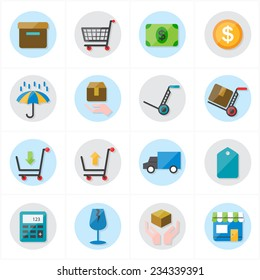 Flat Icons For Business Icons and Ecommerce Icons Vector Illustration