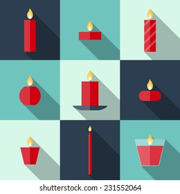 Flat icons Christmas candles with long shadows. Icons candles set. 9 different candles in flat style. Candles collection. Christmas card with candles
