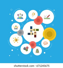 Flat Icons Design, Coin, Help And Other Vector Elements. Set Of Startup Flat Icons Symbols Also Includes Brain, Thinking, Financing Objects.