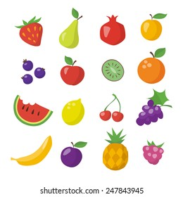 Flat icons of different fruits