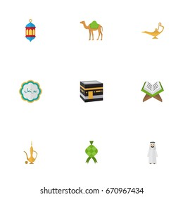 Flat Icons Dromedary, Islamic Lamp, Decorative And Other Vector Elements. Set Of Ramadan Flat Icons Symbols Also Includes Muslim, Ketupat, Hari Objects.