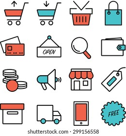 Flat icons for e-commerce, isolated on white background
