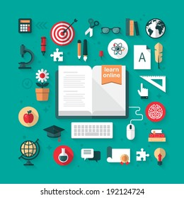 Flat icons for e-learning and online education concept. Vector illustration