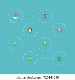 Flat Icons Elf, Snake, Avatar And Other Vector Elements. Set Of Character Flat Icons Symbols Also Includes Gargoyle, Fish, Evil Objects.