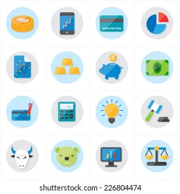 Flat Icons For Finance Icons and Business Icons Vector Illustration