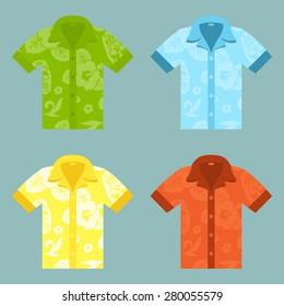 Flat icons of four Aloha Shirts.