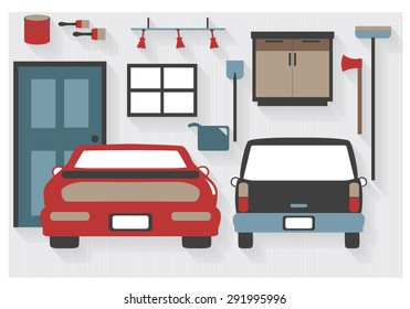 Flat Icons Garage Furniture with Cars and Tools - All Long Shadows on one layer - contains blends