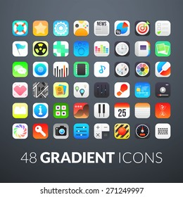 Flat icons gradient style with rounded corners, vector illustration