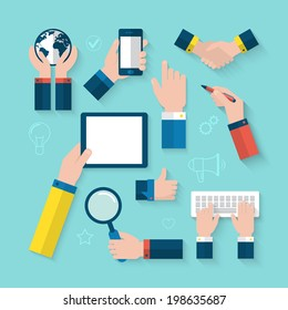 Flat icons of hands for business concept
