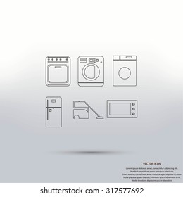 Flat  icons home appliances vector