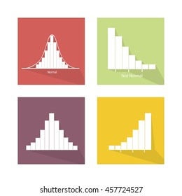 Flat Icons, Illustration Set of 4 Gaussian Bell or Normal Distribution Curve and Not Normal Distribution Curve.