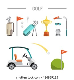 Flat icons image sports gear for the game of Golf such as Golf bags, putter, golfer, ball, hole, Golf course. For registration information articles, advertisements, and products for the game of Golf.