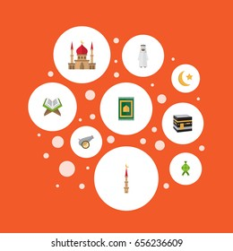 Flat Icons Malay, New Lunar, Arabian And Other Vector Elements. Set Of Ramadan Flat Icons Symbols Also Includes Minaret, Prayer, Koran Objects.