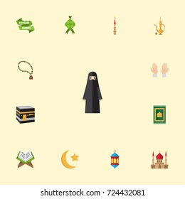 Flat Icons Malay, New Lunar, Islamic Lamp And Other Vector Elements. Set Of Religion Flat Icons Symbols Also Includes Kareem, Woman, Prayer Objects.
