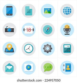 Flat Icons For Media Icons and Communication Icons Vector Illustration