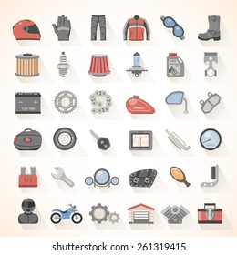 Flat Icons - Motorcycle Gear and Accessories