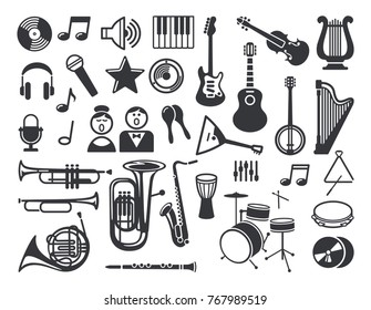 Flat icons of musical instruments and symbols