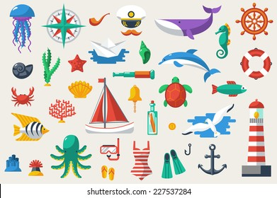 Flat icons with ocean creatures and symbols. Vector illustration. Sea leisure sport. Nautical design elements