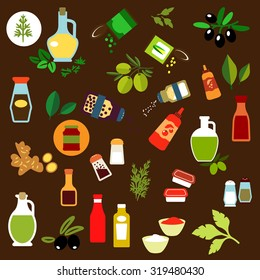Flat icons of olive fruits, ginger, corn and green pea cans, spicy herbs, olive oil, salt and pepper shakers, vinegar, ketchup, mustard, mayonnaise, tomato sauce bottles