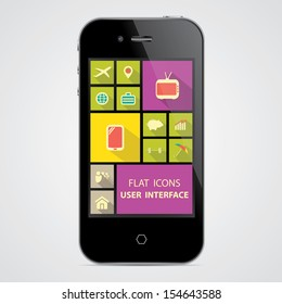 Flat icons on smart phone UI application, user interface