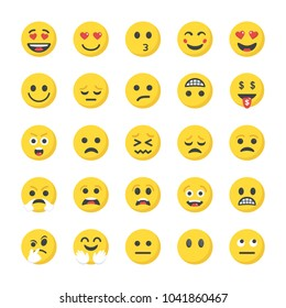 Flat Icons Pack of Smileys