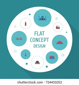 Flat Icons Paris, Drought, India Mosque And Other Vector Elements. Set Of Landmarks Flat Icons Symbols Also Includes Paris, Architecture, Bridge Objects.