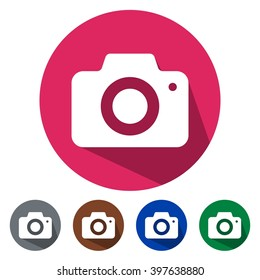 Flat icons photo camera for Web, Mobile and business