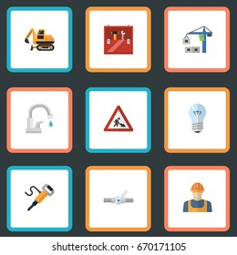 Flat Icons Pneumatic, Faucet, Caution And Other Vector Elements. Set Of Construction Flat Icons Symbols Also Includes Plumbing, Workman, Repair Objects.