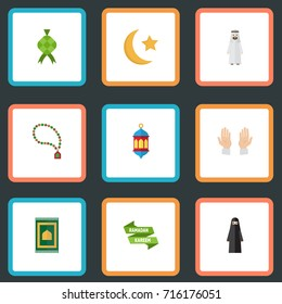 Flat Icons Prayer Carpet, Bead, New Lunar And Other Vector Elements. Set Of Ramadan Flat Icons Symbols Also Includes Ketupat, Male, Arabian Objects.