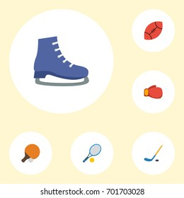 Flat Icons Rocket Ice Boot Boxing And Other Vector Elements Set Of Activity