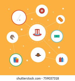 Flat Icons Sausage, Greenback, Horse And Other Vector Elements. Set Of Usa Flat Icons Symbols Also Includes Greenback, America, Cowboy Objects.