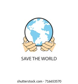 flat icons for  save the world,hands,vector illustrations