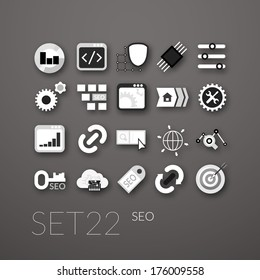 Flat icons set 22 - SEO and Development collection