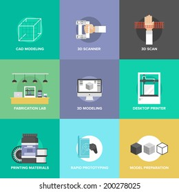 Flat icons set of 3D printing and layout rapid prototyping, 3D modeling and 3D scanning, fabrication laboratory service and model object develop. Flat design style modern vector illustration concept.