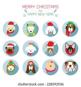 Flat Icons Set: : Christmas, Various Dog Breeds