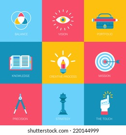 Flat icons set creative portfolio design digital art web click infographics style vector illustration concept collection